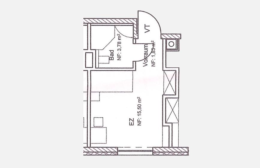 Mustergrundriss Einzelzimmer